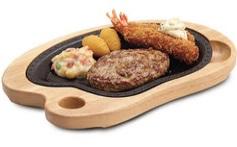 びっくりドンキー「エビフライ&ハンバーグステーキ」